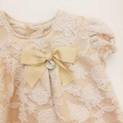 vestido bebe rochy beige con bordado de flores