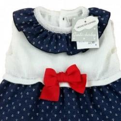vestido bebe guty baby con braguita y lazo rojo