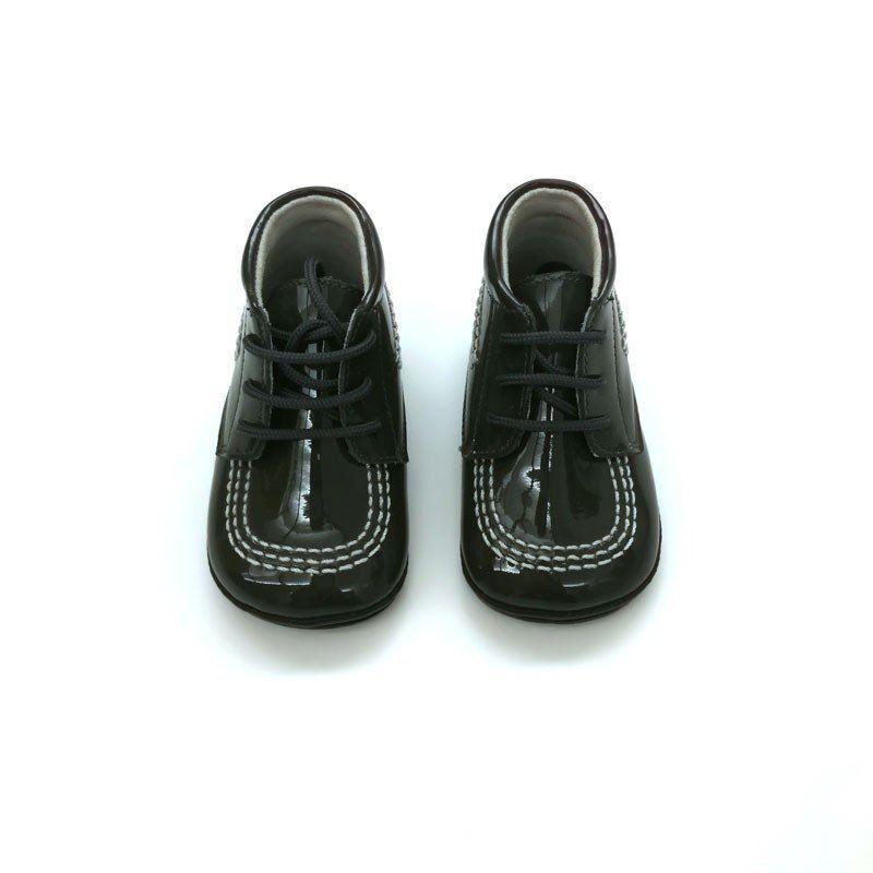 zapatos bebe sin suela charol gris de leon shoes