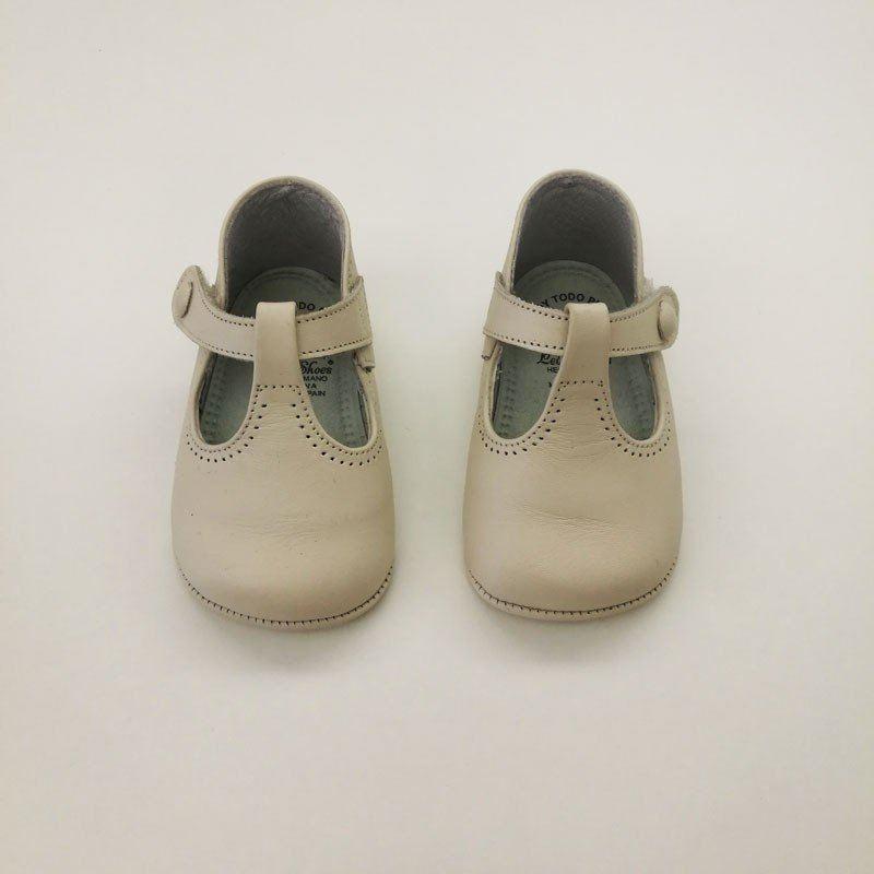 zapatos bebe sin suela cruzados nacarados