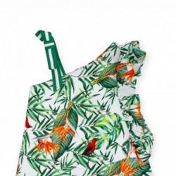 vestido niña tutto piccolo de tirante y estampado tropical
