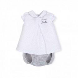 vestido bebe de verano blanco y gris de tutto piccolo