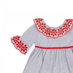 vestido niña azul y rojo de tutto piccolo con lazo