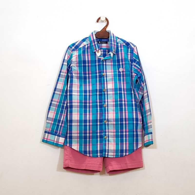 camisa niño manga larga de nachete azul