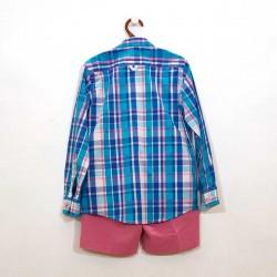 camisa niño manga larga de nachete azul por detras