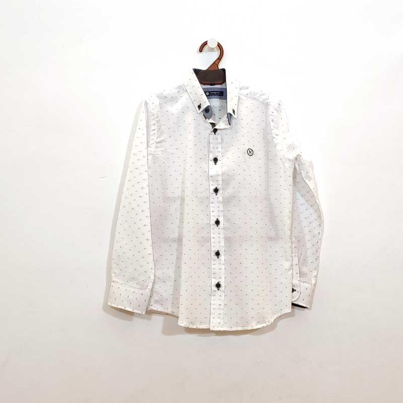 camisa niño nachete blanca y flores