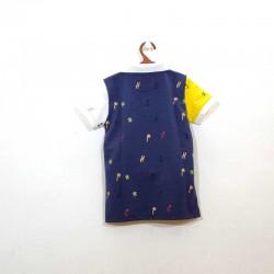 polo de niño nachete azul marino y amarillo