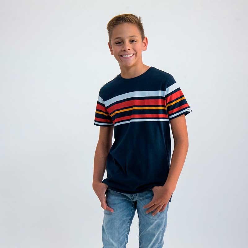 camiseta niño garcia jeans marino con rayas