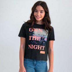camiseta niña garcia jeans negra y fluor