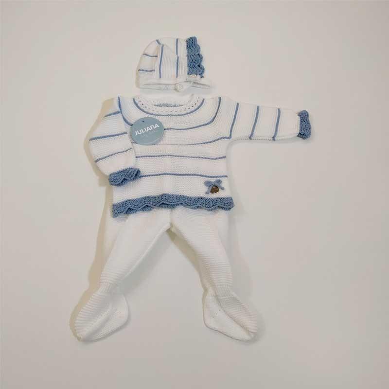 conjunto bebe de punto blanco y azul de juliana