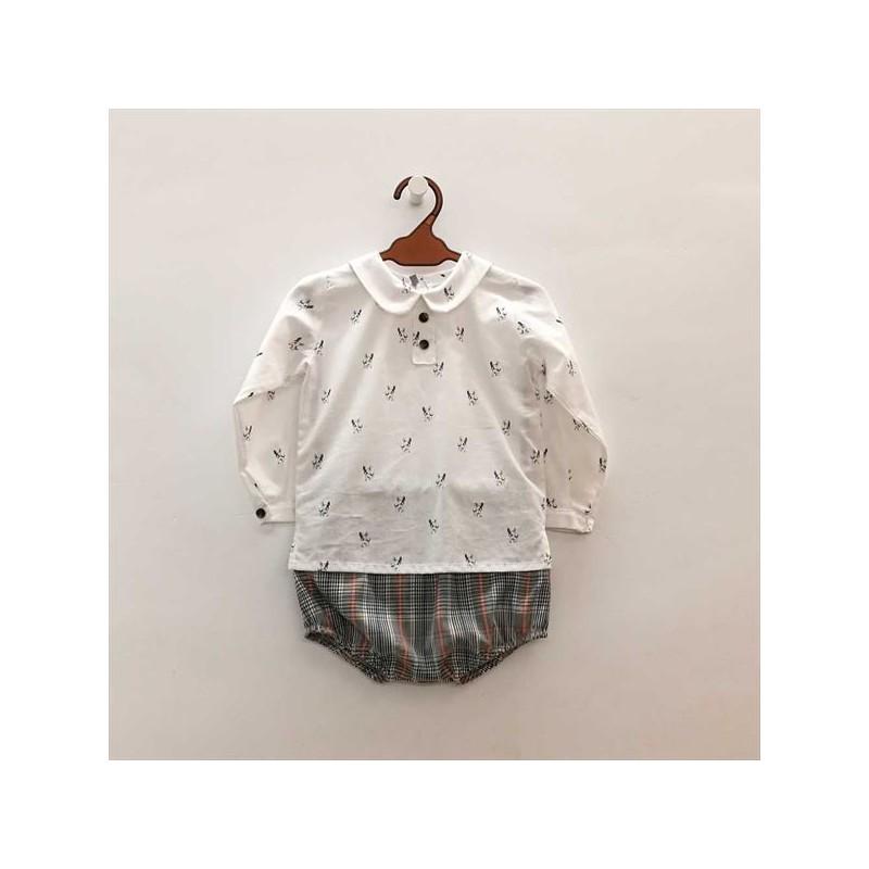conjunto vestir bebé de rochy estampado perritos
