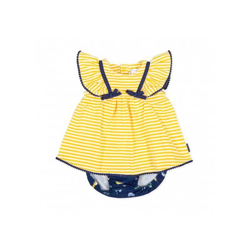 vestido bebe de verano amarillo a azul tutto piccolo