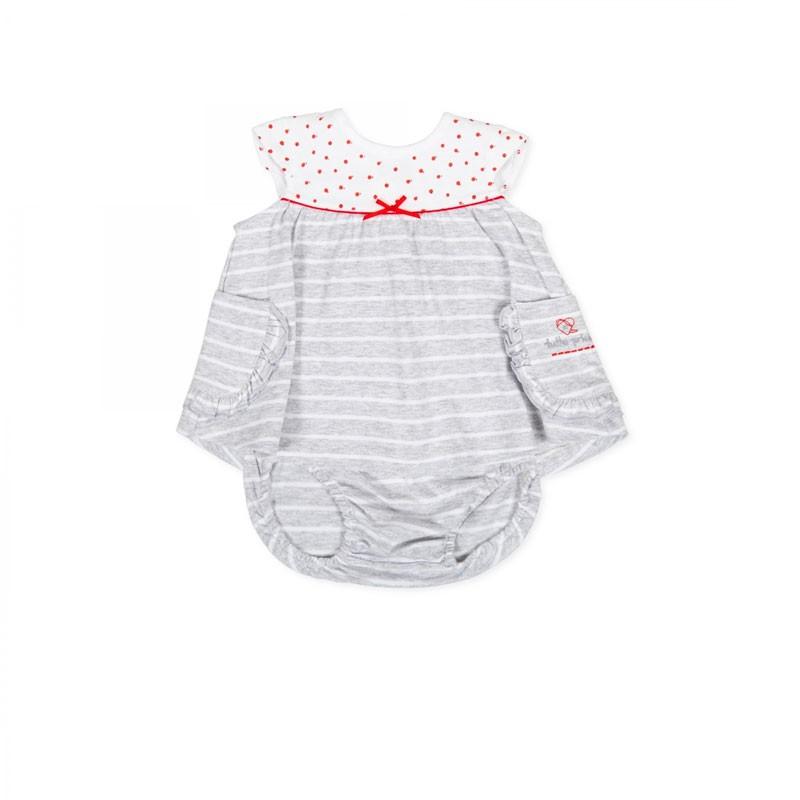vestido bebe gris con braguita de verano