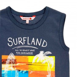 camiseta niño desmangada azul marino de boboli