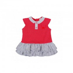 vestido niña tutto piccolo rojo y gris