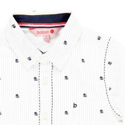 detalle cuello estampado pulpos en camisa niño boboli