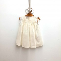 vestido bebe de bautizo beig desmangado