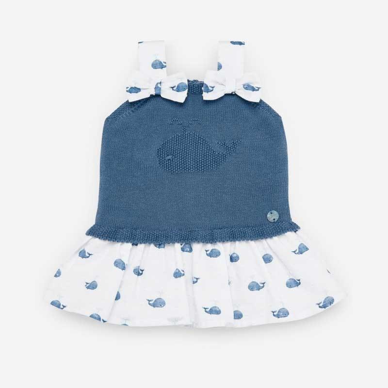 vestido bebe de punto y tela azul con ballenas