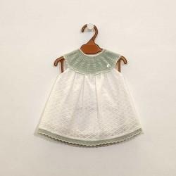 vestido bebe de paz rodriguez de tela y punto verde