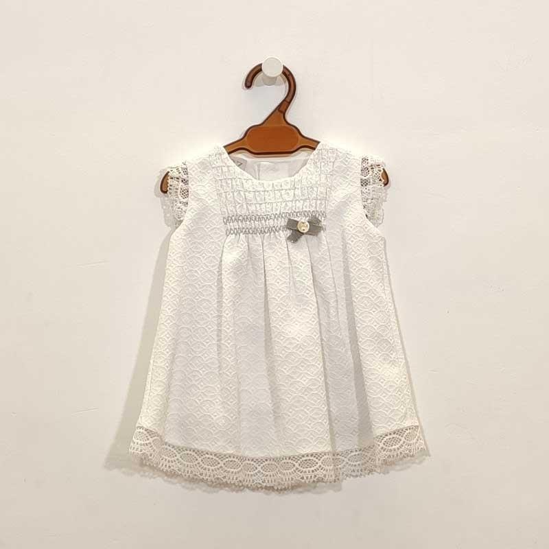 vestido bebe paz rodriguez blanco y puntilla