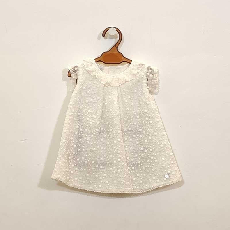 vestido bebe de bautizo color crudo paz rodriguez