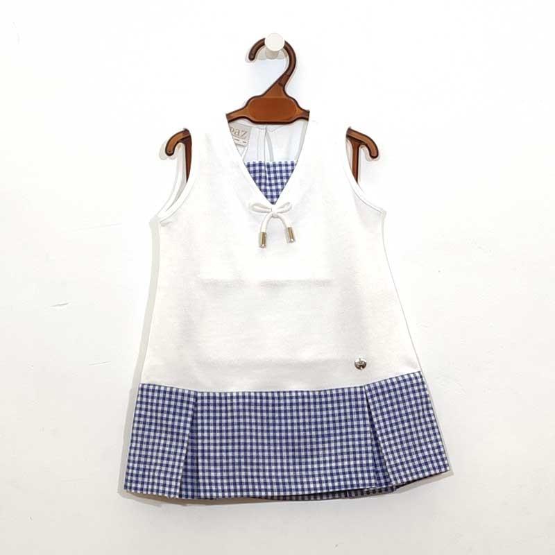 vestido bebe de punto blanco y cuadros azules