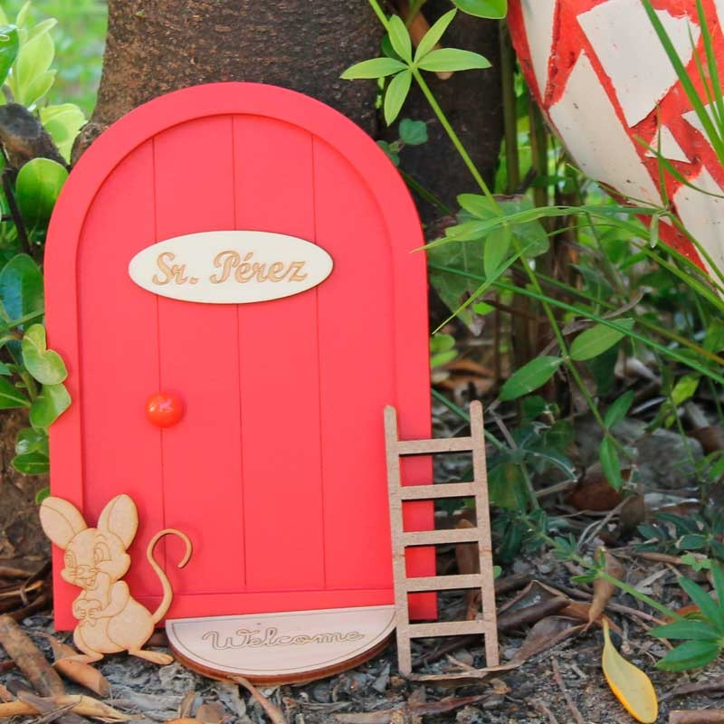puerta raton perez roja para niña y niño