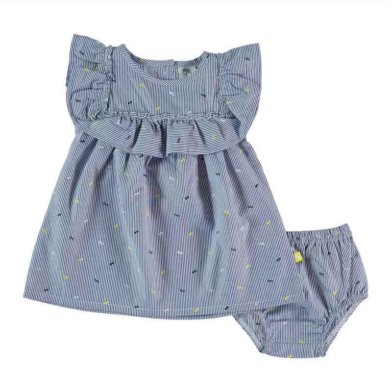 vestido bebe de verano con braguita azulde bimbalu