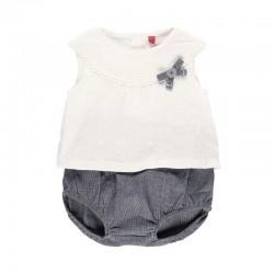conjunto bebe niña de punto blanco y gris boboli