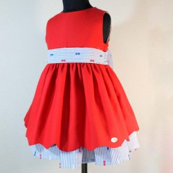 Vestido niña rojo piqué...