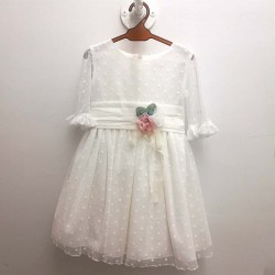 vestido niña de ceremonia de tul crudo atelier de candela