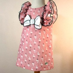vestido niña rosa estampado flamencos de bas marti