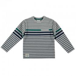 camiseta niño manga larga gris a rayas
