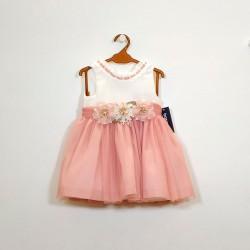 vestido niña de ceremonia de tul rosa bas marti