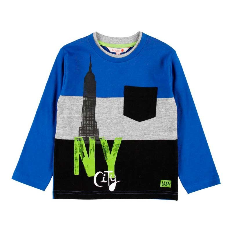 camiseta niño de manga larga azul de new york