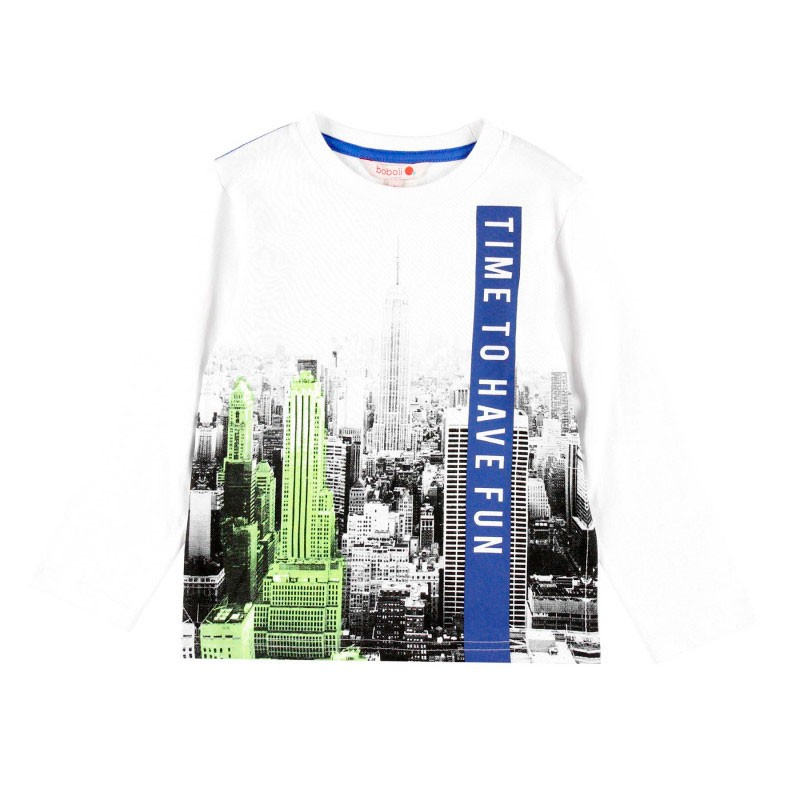 camiseta niño manga larga blanca new york