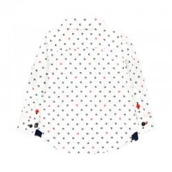 camisa niño boboli blanca y estampado cangrejos por detras
