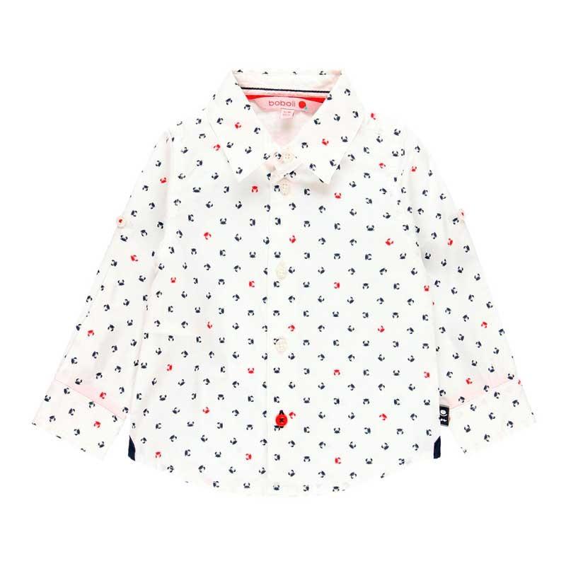 camisa niño boboli blanca y estampado cangrejos