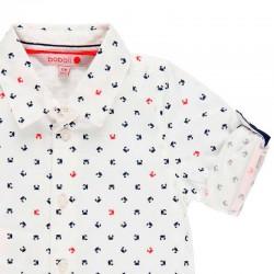 detalle manga camisa niño boboli blanca y estampado cangrejos