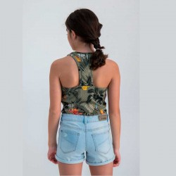 camiseta niña desmangada de garcia jeans estampado hojas