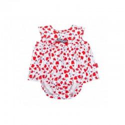 Vestido bebé rojo de amapolas