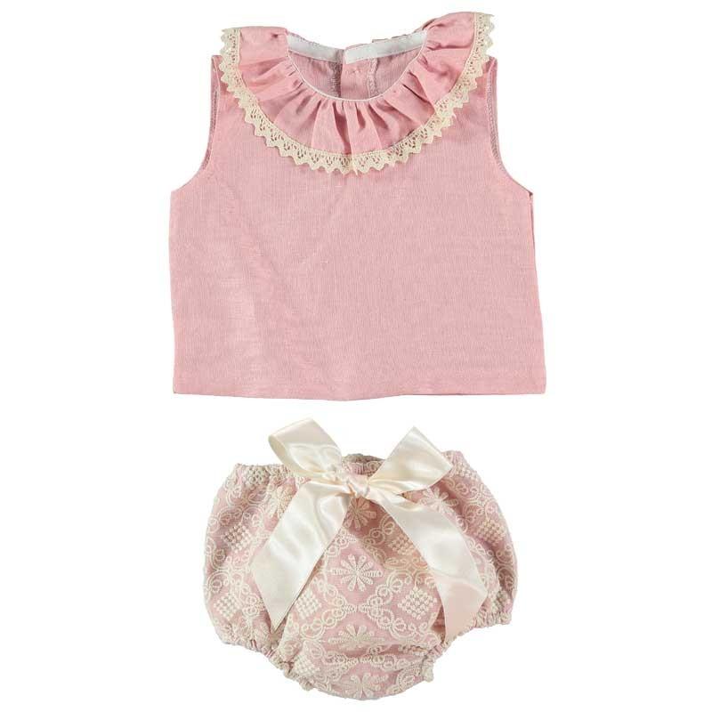 conjunto bebé niña encaje rosa y crudo