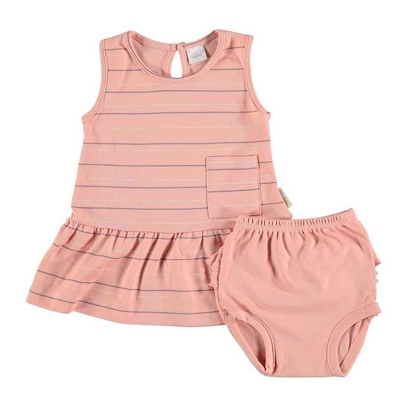 vestido bebe algodon pima rosa a rayas