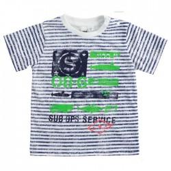 camiseta niño a rayas marino y estampado verde ido