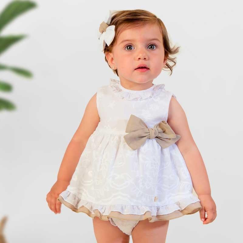vestido bebe ceremonia blanco y arena
