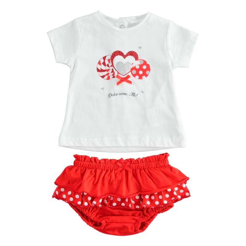 conjunto bebe niña ido manga corta blanco y rojo
