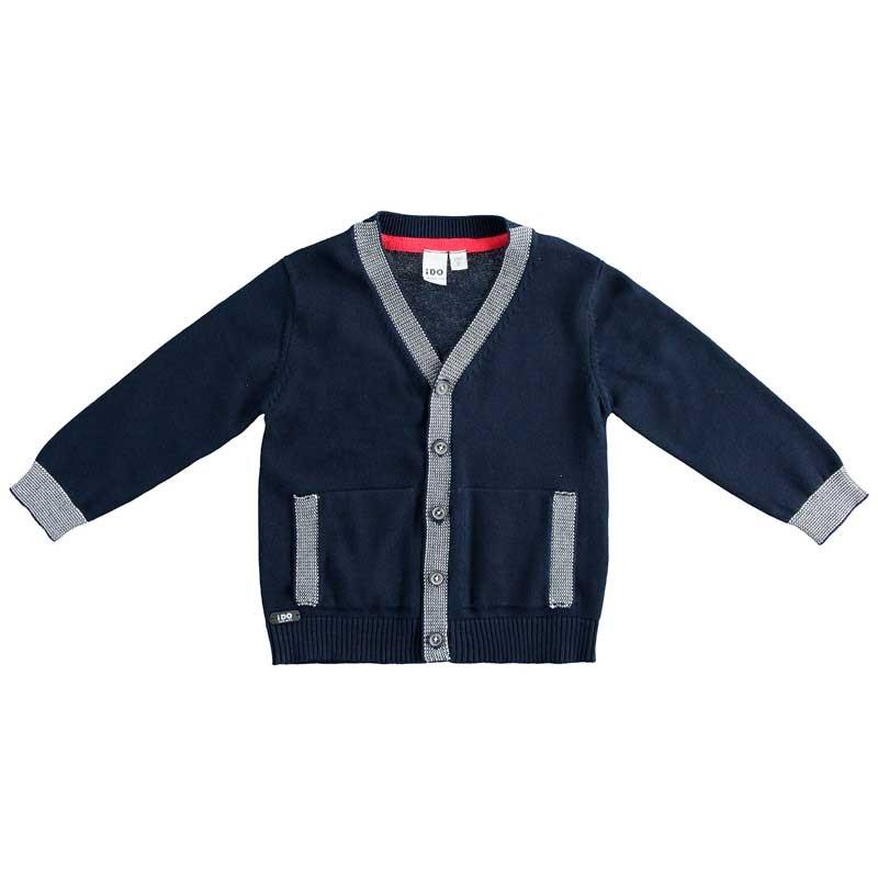 chaqueta punto niño azul marino y gris ido