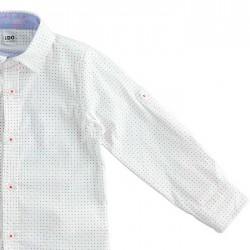 detalle camisa niño ido blanca a motas