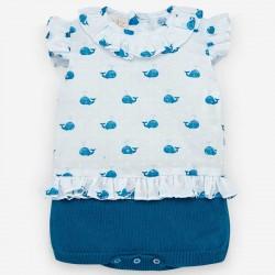 Pelele bebé niña azul y...