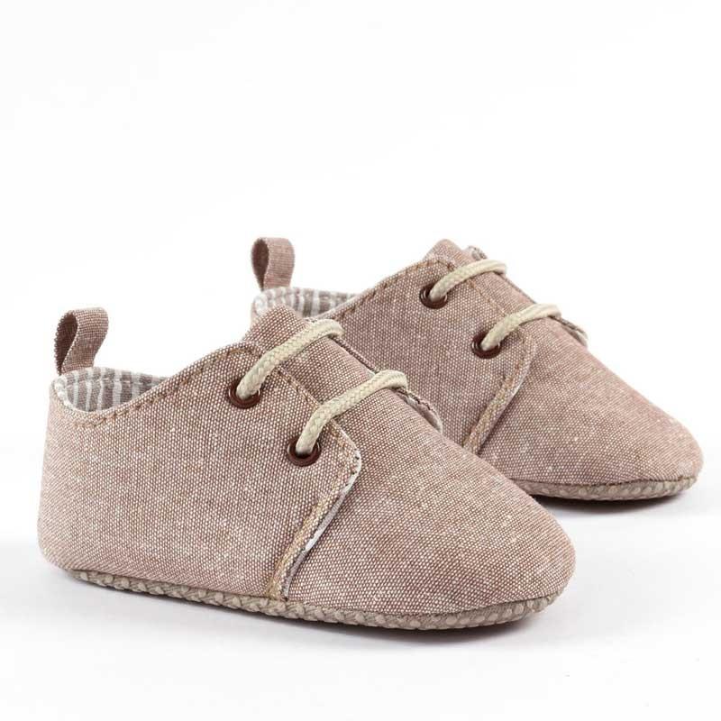 zapatos bebe tela marrones sin suela